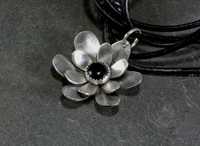 Sterling Silver Flower Necklace With Black Onyx By Nicilaskin