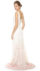 Theia Emma Embroidered Petal Gown Cherry Blossom
