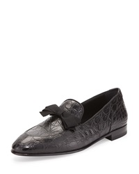 Mercer 2 Crocodile Formal Loafer With Bow Detail Black Salvatore Ferragamo