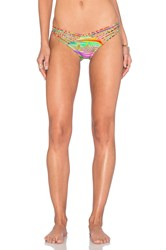 Luli Fama Dreamin Strappy Brazilian Ruched Bikini Bottom Blue