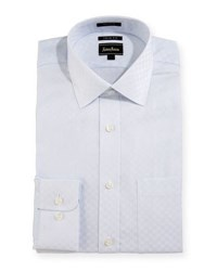 Neiman Marcus Trim Fit Regular Finish Square Print Dress Shirt White