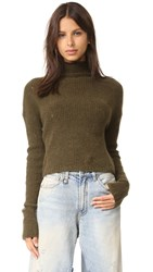 R 13 Cashmere Rib Turtleneck Sweater Army Olive