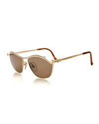 Christian Lacroix Vintage Curvy Brow Bar Sunglasses Gold