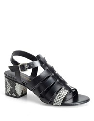 Carmen Marc Valvo Snake Embossed Leather Strappy Sandals Black