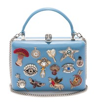 Alexander Mcqueen Embroidered Dreams Handle Box Clutch Female Blue