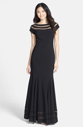 Js Collections 'Ottoman' Sheer Stripe Mermaid Gown Black
