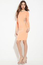 Forever 21 Lace Up Bodycon Dress Peach