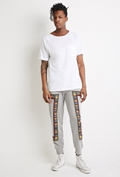 Forever 21 Mixed Print Sweatpants Heather Grey Yellow