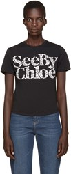 See By Chloe Black Floral Logo T Shirt