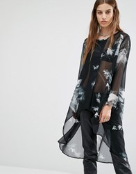 Religion Smock Top With All Over Bird Print Black