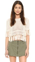 Free People On The Fringe Pullover Ivory