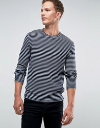 Jack And Jones Premium Long Sleeve Top In Stripe Navy Blazer