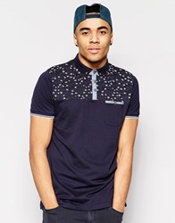 Brave Soul Contrast Chest Bird Polo Navy