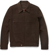 Private White V.C. Brushed Stretch Cotton Jacket Brown