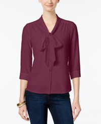 Ny Collection Petite Tie Neck Blouse Rhododendr