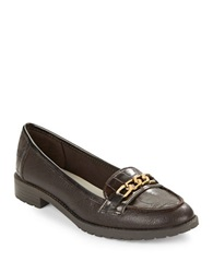 Anne Klein Barlie Leather And Suede Loafers Dark Brown
