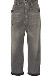 Golden Goose Deluxe Brand Distressed Glittered High Rise Boyfriend Jeans Gray