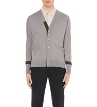 Hardy Amies Contrast Detail Wool Cardigan Mid Grey Olive