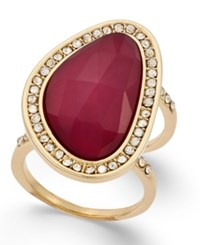 Inc International Concepts Large Stone And Pave Double Shank Statement Ring Only At Macy's Gold