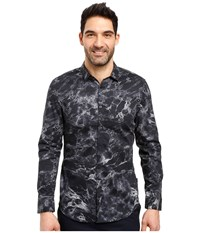 Calvin Klein Long Sleeve Marble Print Button Down Shirt Black Men's Long Sleeve Button Up