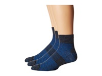Wrightsock Merino Coolmesh Quarter 3 Pack Grey Blue Quarter Length Socks Shoes Gray