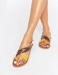 Park Lane Weave Leather Flat Sandals Multi