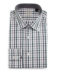 English Laundry Check Woven Dress Shirt Grey Green