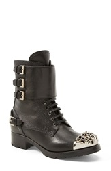 Miu Miu Triple Buckle Cap Toe Boot Women Black Leather