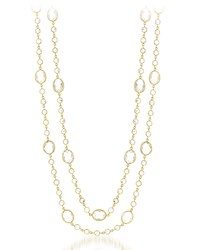 Diana M. Jewels Long 14K Yellow Gold And White Topaz Layering Necklace 56 L