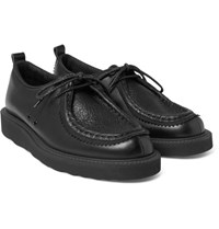 Hender Scheme Tirolean Mesh Trimmed Leather Derby Shoes Black