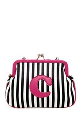 Melie Bianco Striped Initial Pouch C Multi