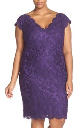 Tadashi Shoji Plus Size Women's Double V Neck Embroidered Lace Sheath Dress Deep Amethyst