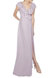 Women's Ceremony By Joanna August 'Lolo' Ruffle V Neck Chiffon Wrap Gown Lilac