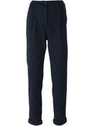 Woolrich Turn Up Hem Tapered Trousers Blue