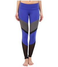 Alo Yoga Sheila Leggings Deep Electric Blue Stormy Heather Black Glossy Women's Workout