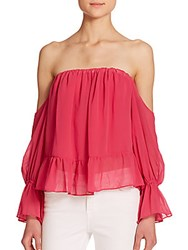 T Bags Los Angeles Off The Shoulder Ruffled Long Sleeve Blouse Hot Pink
