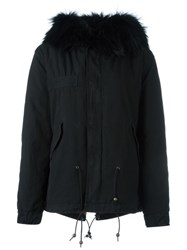 Mr And Mrs Italy Trim Parka Coat Black