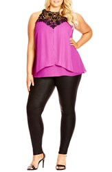 Plus Size Women's City Chic 'Layered Motif' Lace Detail Tiered Chiffon Top Orchid