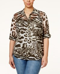 Inc International Concepts Plus Size Animal Print Blouse Only At Macy's Animal Mosaic