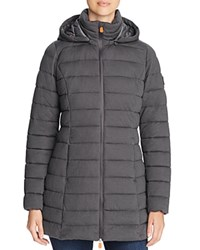 Save The Duck Packable Long Puffer Coat Charcoal Grey Melange
