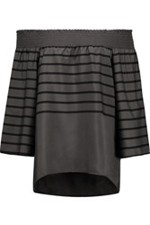 W118 By Walter Baker Sammy Off The Shoulder Striped Crepe De Chine Top Anthracite