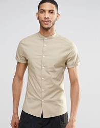 Asos Skinny Shirt In Stone With Grandad Collar And Short Sleeves Beige