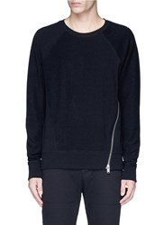 Den Im By Siki Im Side Zip Cotton French Terry Sweatshirt Black