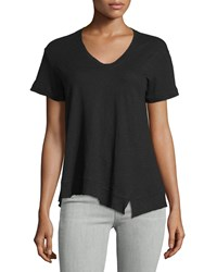 Jethro Slouchy Asymmetric V Neck Top Black
