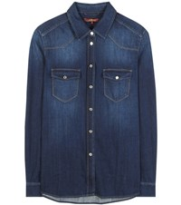 7 For All Mankind Classic Western Denim Shirt Blue