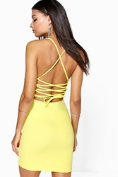 Boohoo Lace Up Back Detail Plunge Bodycon Dress Yellow