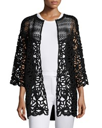 Escada Corded Lace Open Front Cardigan Black