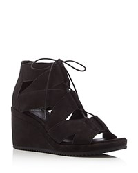 Eileen Fisher Lace Up Wedge Sandals Black