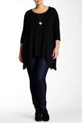 Sweet Romeo Elbow Length Sleeve Crew Neck Tunic Sweater Plus Size Black