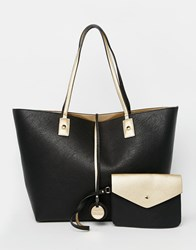 Dune Reversible Metallic Shopper Bag Black Gold